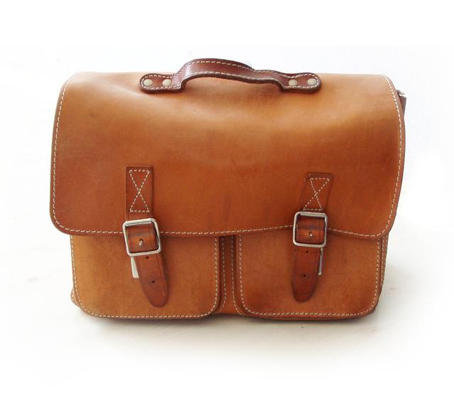 pánska hnedá kožená taška